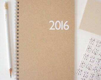 2016 kraft monthly spiral planner