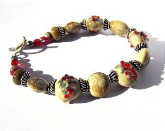 Handmade Lampwork Glass Bead bracelet antiqued holiday berries