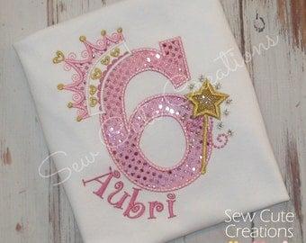 Princess birthday shirt, Princess Shirt, Princess Crown shirt, Princess crown birthday shirt, glitter princess shirt, sew cute creations