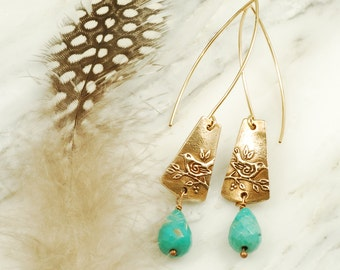 Sparrow Earrings - Bronze Bird Earrings with Moss Agate Briolettes and Extra Long Gold Fill Wires