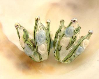 1 Handmade Lampwork Flower Bead Pair