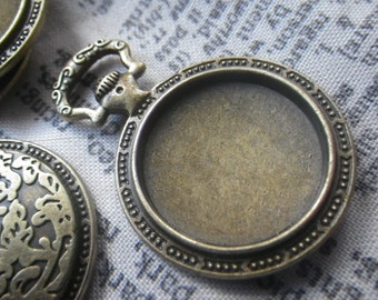 Pocket Watch Setting Antiqued Brass for 20mm Round Cabochon 4 Pcs
