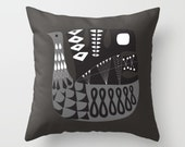 Mid Century Illustrated Bird No. 9 Throw Pillow