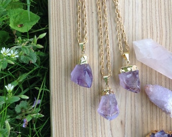 Raw Gold Dipped Amethyst Stone Pendant Long Necklace - Brass Chain Crystal Jewelry - Minimalist Gemstone Gypsy - Purple