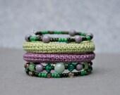 coil crochet bracelet - purple and green beaded wrap bracelet - modern crochet jewelry