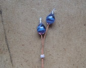 Lampwork Headpins - Glass Headpins - Orchid Glass Headpins - Copper wire - Glass Headpins Pair - SueBeads - Headpins