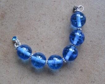 Lampwork Beads - SueBeads - Round Beads - Wispy Sapphire Blue Round Bead Set - Handmade Lampwork Beads - SRA M67