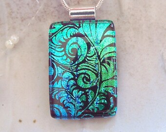 Green Necklace, Dichroic Pendant, Necklace, Glass Jewelry, Blue, Necklace Included, A1