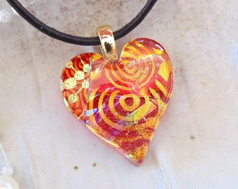 Heart Pendant, Dichroic Glass, Necklace, Fused Jewelry, Red, Gold, Necklace Included, A8