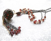 Tassel Flapper Statement Red Garnet Long Layering Necklace Pave Orb -Wire Wrapped - SALE