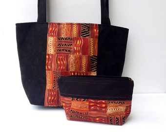 Tote Bag & Zippered Pouch/Bible Tote/Accessories Travel Set/Phone Case/Jewelry Purse/Tablet Ereader Bag/Ethnic Design/Handmade Gift For Her