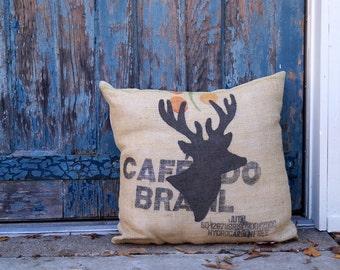 Oh Deer Burlap Pillow - state art - bluegrass - coffee bag burlap - Living Room - Man Cave