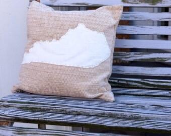 Kentucky State pillow - KY - Fiber fill - lumbar - appliqué- Bluegrass State - studio - maker - custom quote