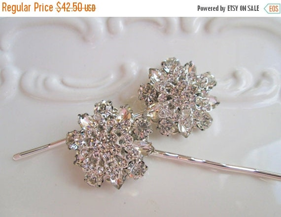 Sale Wedding Hair Pin set, Bridal Accessories, Crystal Flower, Hair clips, Rhinestone silver, vintage style, silver bobby pins, updo pins