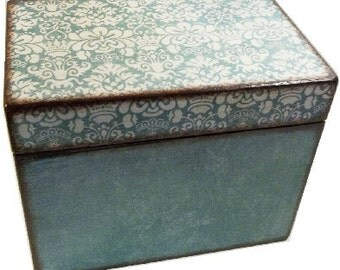 Recipe Box, Wood Recipe, Greeting Card Box, Teal Damask - Other Designs, Wedding Recipe, Bridal Shower Box, Holds 5x8 Cards, MADE TO ORDER