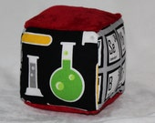 New!  Small Mod Geek Chemistry Chenille Fabric Block Rattle