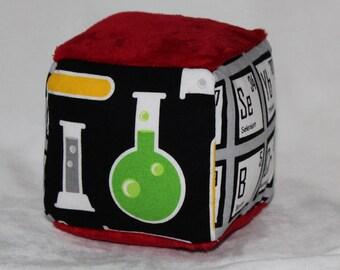 New!  Small Mod Geek Chemistry Chenille Fabric Block Rattle