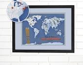 Customized Ski and Snowboard Map, World Wall Map Art, Pushpin Travel Map