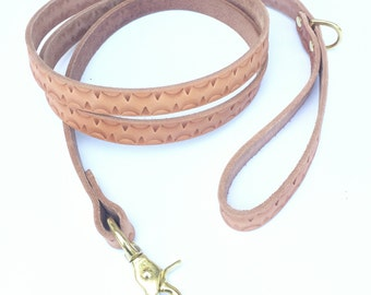 Rising Sun Hand Stamped Leather Dog Leash