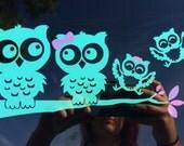 Mint Owl Family Car Window ipad ice chest wall vinyl Decal Owl Owls