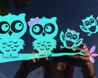 Pink And Green Owl Monogram Vinyl Decal For Yeti Cups Car - Owl custom vinyl decals for car
