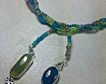 Sapphire Multi strand  necklace, Boho style strand necklace, Silver, sapphire and gemstone long wrapped necklace