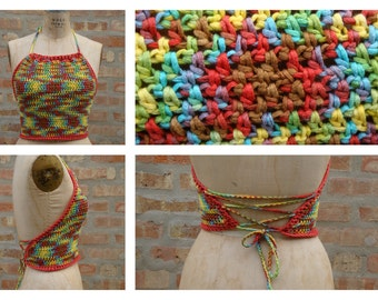 Festival Halter top, festival clothing, gypsy clothing, Hippie top , Boho, colorful top, Tank top,Custom Colors