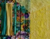 DIY Fabric and notions Flowered Stripe Green & Yellow for 1 BRA and BRIEF by Merckwaerdigh