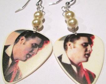 Elvis Presley Earrings guitar pick hand made wire wrapped pierced dangle earrings by Ziporgiabella
