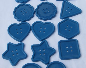 14 jumbo blue assorted shapes plastic buttons new destash supplies for crafting and sewing