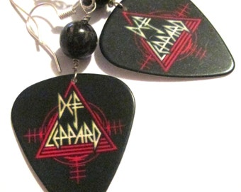 Def Leppard logo guitar pick pierced dangle hand made wire wrapped earrings by Ziporgiabella