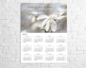 Printable calendar 2017 Letter size poster Floral calendar instant download Wall calendar Print your own calendar Flower magnolia