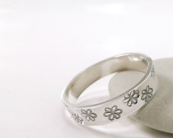 Sterling Silver Flower band ring, hand stamped, stacking ring, Nature jewelry