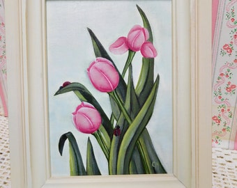 Garden Tulips, Hand Painted on Canvas and Framed, Easel Style Display, Home Decor, Accent, Gift, Seasonal Display, ECS