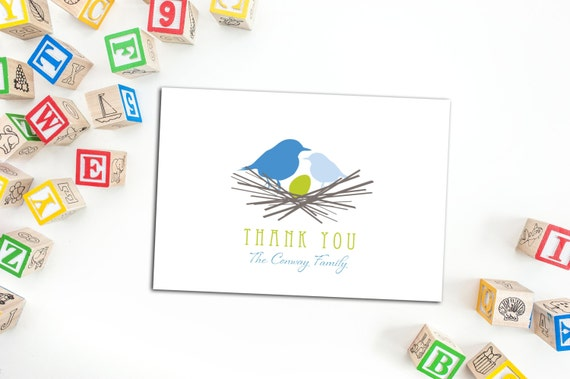 Bird Nest Baby Thank You Cards, Family Note Cards, Set of ten Cards, Personalized Family Note Cards, Cute Bird in a nest Cards, Custom Notes