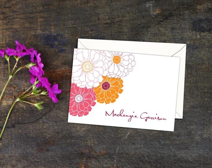 Zinnia Personalized Folded Notecards, Set of Ten Note Cards, Floral Note Cards, Personalized Floral Note Cards, A2 Folded Custom Note Cards