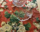 Linen Table Runner, Table Runner, European Linen, Floral, Red-Orange, Table Linens, Kitchen Linens