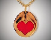 Give a Gift from Nature. Red Heart and Walnut Pendant and a Gold Chain Necklace with a choice of 2 sizes Love in a Nutshell #2