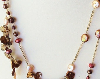 raspberry and brown multi-player wrappable necklace  - made to order, June birthstone