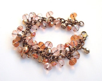 peach and pink glass dangle antiqued bronze and brass bracelet - may also be ordered in silver, yellow gold-filled or rose gold-filled