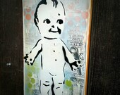 Kewpie Doll Original Graffiti Art Painting on Handmade Collaged Canvas Pop Art Style Original Artwork Stencil Urban Street Vintage Toy Art