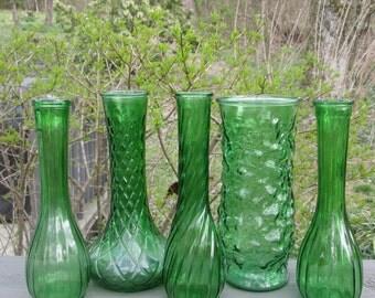 Assorted Green Vases - Five Vintage Green Glass Vases - Spring Wedding