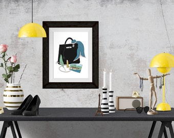 Grace Kelly What's in my Bag Portrait Fashion Illustration Art Poster