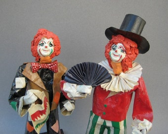 Paper Mache Clowns Circus Clown Figurines Happy Face Clown Sculpture Mexican Folk Art