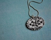 Baha'i Ringstone Symbol Necklace- porcelain oval necklace in black and white