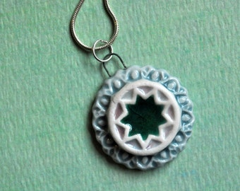 Nine Pointed Star Necklace- Baha'i Pendant- Light Blue, Pink and Emerald Green