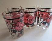 "4 MCM 3"" Pink Elephant Barware Shot Swig Glasses Dancing Singing Anchor Hocking"