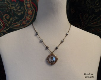 Forget-me-not, Antique Mother of Pearl Button with Steel Cut Jewel Flower Necklace and Earring Set