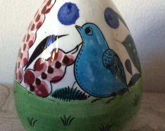 Ceramic egg from Mexico with birds and cactus