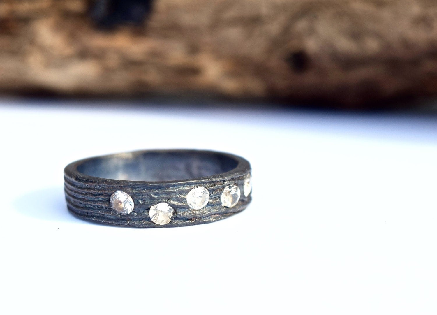 Wedding Bands His And Hers Simple Tree Bark Band Recycled